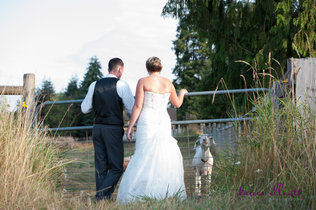 Lucy with bride & groom